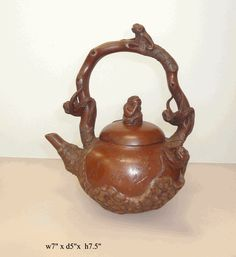 Chinese Zisha Clay Monkeys Teapot Display - Golden Lotus Antiques