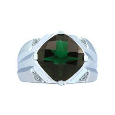 White Gold Men's Large Emerald and Diamond Ring Available Exclusively at Gemologica.com
