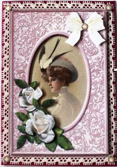 I printed the sheet and cut the parts out. I attached white lace behind the lady topper leaving part of it to show. Then I attached the topper on a purple metallic shining base card. After this I added the decoupage levels. Quick Cards, White Lace, Vintage Ladies, Decoupage, Card Making, Metallic, Base, Printed, Purple