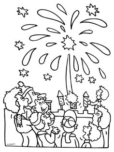 New Years fireworks coloring page paper Pinterest