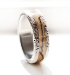 SPALTED MAPLE AND ANTLER RING by Staghead Designs