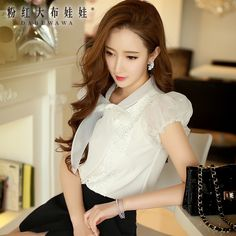 dabuwawa 2016 summer shirts female korean casual fashion vintage bow slim short bubble sleeve blouses women white