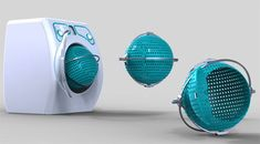 Orbital Washing Machine  Washing clothes has never been so easy. With the incorporated basket you can load and unload the clothes in the washing machine as easy as 1, 2, 3. This isn't the only innovative feature. The spherical drum is moving on two axes washing your clothes better than the old washing machines that use only one axe.