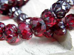 25 Czech Cruller Glass Beads~Ruby Picasso ~9/6mm ~Bohemian Beads #Czech