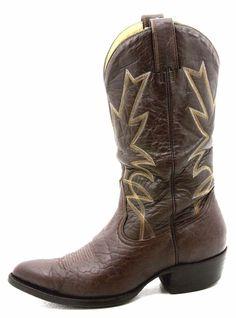 MONTANA mens cowboy boots size 8 E vintage brown exotic elephant skin western #Montana #CowboyWestern