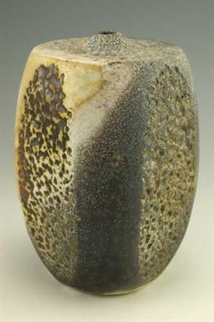 vdVBt5 - Square flat top bottle w/ mottling, 6.375x4.625, porcelain, wood fired, natural ash glaze, $200