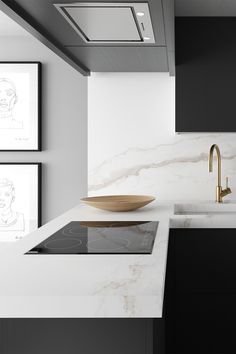 With its strong personality and unique beauty, the Larsen porcelain slab countertop features strong grey veins on a dazzling pure white background for an incredibly stunnning result. Kitchen Interior, Interior And Exterior, Pure White Background, Victoria House, Strong Personality, Kitchen Pass, Kitchen Sink, Kitchen Ideas, Kitchen Cabinets
