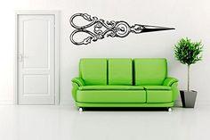 Wall Room Decor Art Vinyl Sticker Mural Decal Vintage Scissors Hair Large AS819