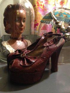 1940s snake skin platforms 40s sky high peeptoe heels size 5 old hollywood Vintage Carmen Miranda shoes by melsvanity on Etsy