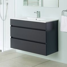 Pinnacle 900 Double Drawer Wall Hung Vanity Carbon