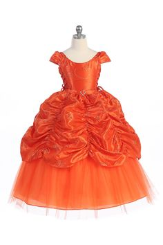 Orange Cinderella Flower Girl  Dress with  Cap sleeves- CD-596-OG CD-596-OG $79.95 on www.GirlsDressLine.Com