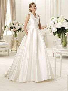Satin V neckline Ball Gown