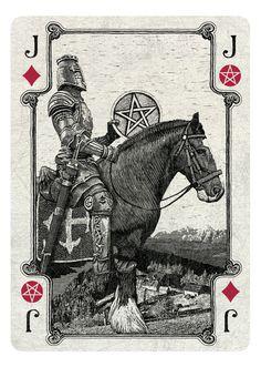ARCANA playing cards by Chris Ovdiyenko - Kickstarter.  Jack of Diamonds/Pentacles