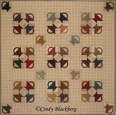 """Stamp Basket"" quilt made with the ""Stamp Basket"" set of stamps available at www.cindyblackberg.com"