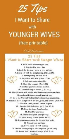 25 Tips I Want to Share With Younger Wives Club 31 Women is part of Marriage life - What tips would I share with younger wives What has gone in to a happy, loving marriage Here are 25 tips every young (and even older) wife should know Marriage Prayer, Godly Marriage, Marriage Relationship, Happy Marriage, Marriage Advice, Love And Marriage, Strong Marriage, Broken Marriage, Young Marriage