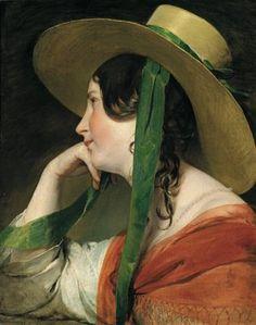 Friedrich von Amerling (1803-1887) - jeune fille au chapeau de paille