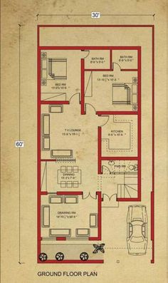 Home Design Drawing house floor marla house plan in bahria town lahore-architecture-design - 5 Marla House Plan, 2bhk House Plan, Model House Plan, Simple House Plans, House Layout Plans, Duplex House Plans, House Plans One Story, House Floor Plans, Story House