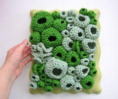 Organic Cotton Contemporary Fiber Wall Art in Kelly Green - Moss and Lichen