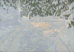 Gustaf Fjaestad. Солнечный свет в снежном лесу.jpg