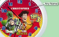 The Toy Story 3 personalised name clock will help your child relive the adventures of Buzz, Woody and the rest of the gang while learning to tell the time.  A perfect and unique gift made from durable plastic with a perspex face, the clock measures 21cm in diameter.