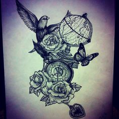 Tattooo Inspiration, i like the bird and the globe but with a different compass