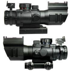 4X32 Tactical Rifle Scope W/ Tri-Illuminated Chevron Reticle Fiber Optic Sight Scope Rifle Airsoft Hunting Rifle Scope