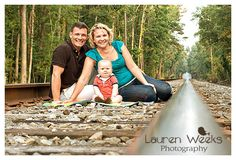Family pictures on the railroad tracks.  www.laurenweeksphotography.com  www.facebook.com/laurenweeksphotography