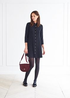 style, fashion, navy shirt dress, satchel, bag, flats, autumn