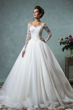 $189-Lace Long Sleeves A-line Wedding Dresses Off-Shoulder Lace Applique Sheer Back Bridal Gowns- www.babyonlinedress.com