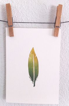 Yellow and Green Ombre Feather Watercolor Painting by Anna Tovar via @Etsy