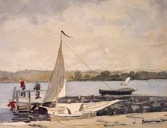 Winslow Homer (American, 1836–1910): Sailing off Gloucester, c. 1880. - Google Search