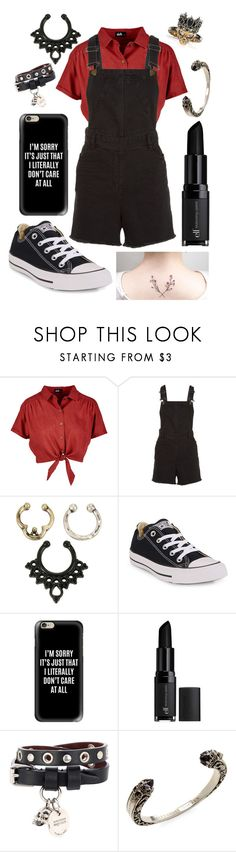"""Red and Black - Lipstick Rose"" by emoinnuendo ❤ liked on Polyvore featuring Maje, Hot Topic, Converse, Casetify, e.l.f. and Alexander McQueen"