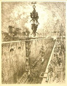 """Joseph Pennell, The End of the Day, from the portfolio Building of the Panama Canal, 1912. Lithograph, 25 1/2 x 20 1/2"""". Mildred Lane Kemper..."""
