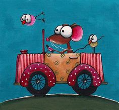Stressie Cat Originals By Lucia Stewart Size: 6 x inches The Story: Mousies fun travel adventure series The Product: This print is signed Watercolor Cards, Watercolor Paintings, Arte Pop, Car Painting, Whimsical Art, Funny Art, Caricatures, Rock Art, Doodle Art