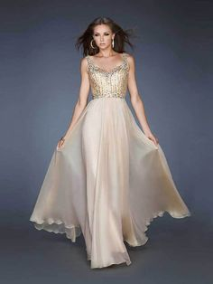 A-line Sweetheart Chiffon Champagne Long Prom Dresses/Evening Dress With Beading #FC316