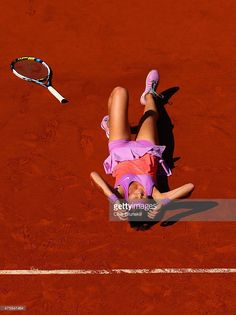 Lucie Safarova of Czech Repbulic celebrates match point in her Women's Semi final match against Ana Ivanovic of Serbia on day twelve of the 2015 French Open at Roland Garros on June 4, 2015 in Paris, France.