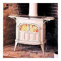 Vermont Castings in the color of biscuit on a old brick hearth. Brick Hearth, Old Bricks, Bed Sheet Sets, Wood Burning, Vermont, Stove, Biscuit, Luxury Homes, House Ideas