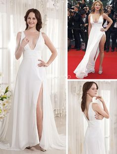 Ivory Floor Length V-Neck Chiffon Cannes Film Festival Dress. Show off your sexy in this fabulous chiffon sheath. It features a halter-style bodice, V neck and wrapped waistband in the midsection. The floor-length skirt is light and airy so it moves with you when you walk. A super sexy.. . See More Cannes Film Festival Dresses at http://www.ourgreatshop.com/Cannes-Film-Festival-Dresses-C901.aspx