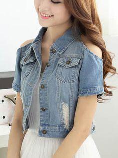 Women's Slim Roll Collar Short Sleeve off shoulder Single Breasted Thin Denim Short Jeans Coat|Jacket from wearingsales.com