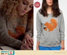 Carrie's grey squirrel sweater on The Carrie Diaries.  Outfit details: http://wornontv.net/12502/
