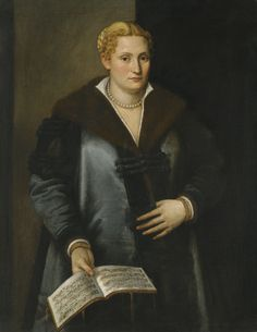 Micheli Parrasio PORTRAIT OF A DIVA, SAID TO BE ARTEMISIA ROBERTI, THREE QUARTER LENGTH, WEARING A FUR-LINED COAT, PEARLS, AND HOLDING A MUSICAL SCORE