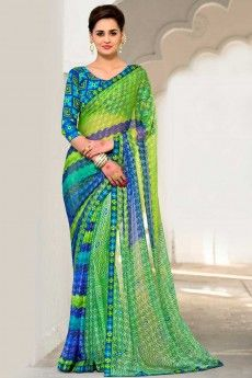 Green with blue Georgette Saree With Art silk Blouse - DMV9169