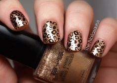 gold & black leopard print nails