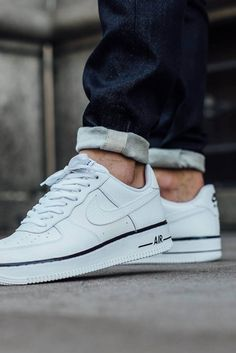NIKE Air Force 1 Low White with black foxing stripe Nike Air Force, Air Force One, Nike Air Max, Me Too Shoes, Men's Shoes, Nike Shoes, Shoes Sneakers, Ladies Sneakers, Chanel Sneakers