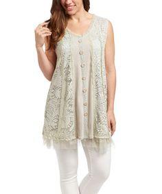 Look at this #zulilyfind! Beige Lace-Fringe Linen-Blend Tunic by Pretty Angel #zulilyfinds