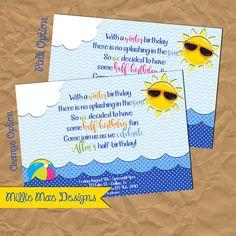 summer half birthday invitation