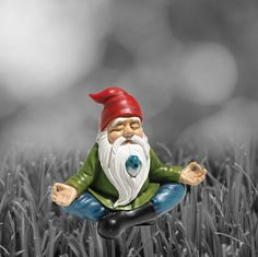 **Part of our Cool Gnomes Collection** Ommm… This hand-cast from crushed stone and hand-painted gnome is in the zone, so much so that he doesn't even notice the little bird peeping through his beard.