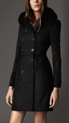 Trench-coat mi-long en laine et cachemire avec col en fourrure | Burberry