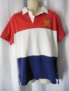 POLO RALPH LAUREN Rugby/Polo Shirt Sz XL custom fit color block red/white/blue N #PoloRalphLauren #PoloRugby