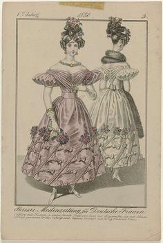 Pariser Modenzeitung für Deutsche Frauen, 1830 V. Jahrg (3) : Coiffure mit Blumen..., anoniem, Jean Baptiste Rousseau (1802-1867), 1830